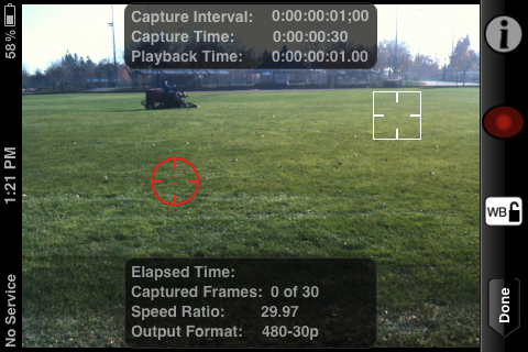 Image of Advanced mode in landscape recording with focus and exposure locks.